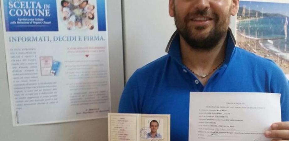 """Sempre """"primo"""" il sindaco di Delia: il """"cittadino"""" disponibile a essere donatore di organi"""