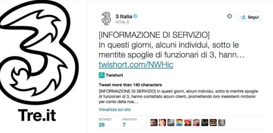 Truffa con 3 Italia, attenzione all'imbroglio: falsi operatori chiedono i dati delle carte di credito