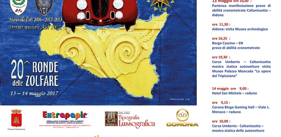 A Caltanissetta la XX Ronde delle Zolfare con auto d'epoca