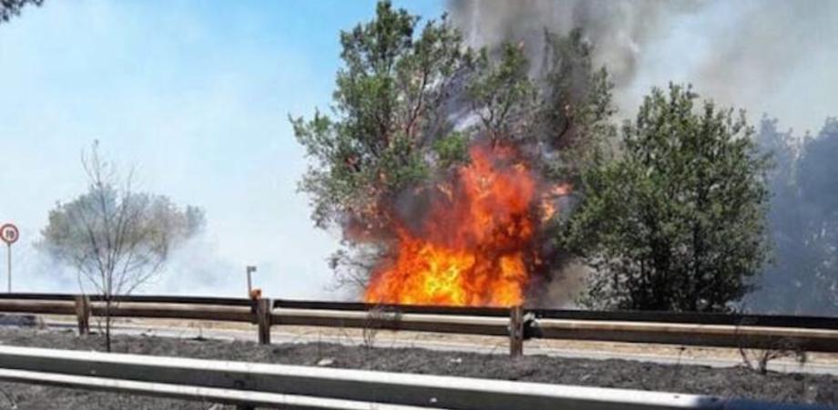 La Sicilia continua a bruciare, traffico bloccato sull'autostrada nei pressi di Agira
