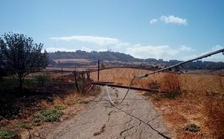 Caltanissetta, pioggia e vento: pali Telecom si abbattono sull'asfalto