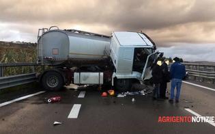 Sulla Caltanissetta-Agrigento autocisterna sbanda e un'auto le finisce contro: 3 feriti