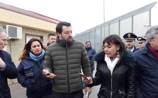 Matteo Salvini in visita al Cara di Pian del Lago: