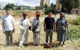 Caltanissetta, giovani nigeriani acquistano gli attrezzi con i soldi delle offerte e ripuliscono l'area della parrocchia