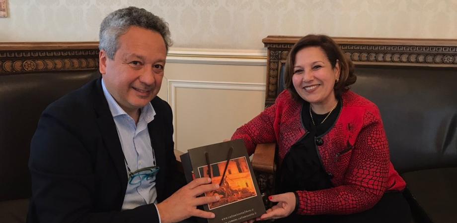 Caltanissetta, visita a Palazzo del Carmine del Console generale del Marocco a Palermo, Fatima Baroudi