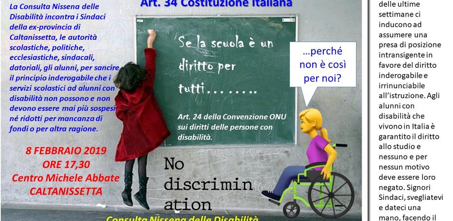 Caltanissetta, servizi di assistenza scolastica per i disabili prorogati al 28 febbraio: la Consulta incontra il Prefetto