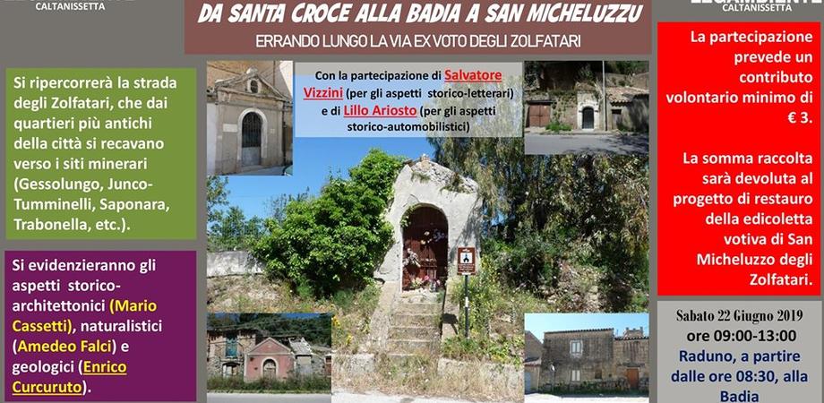 """Caltanissetta, passeggiata di Legambiente: """"Da Santa Croce alla Badia a San Micheluzzo"""" passando lungo la via ex-voto degli Zolfatari"""