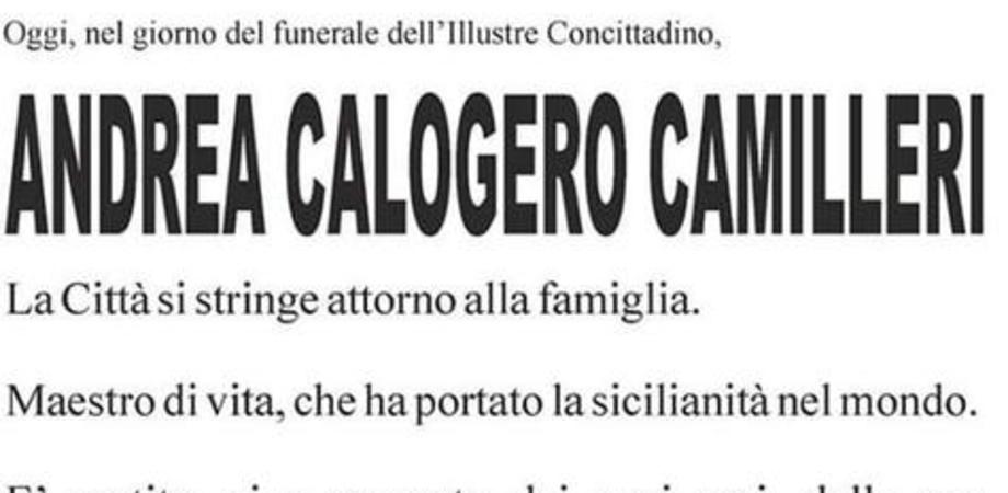 Camilleri, manifesto funebre con diversi errori: accenti e punteggiatura alla rinfusa
