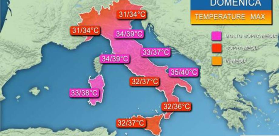 Domenica e lunedì gran caldo sull'Italia, si sfioreranno i 40 gradi