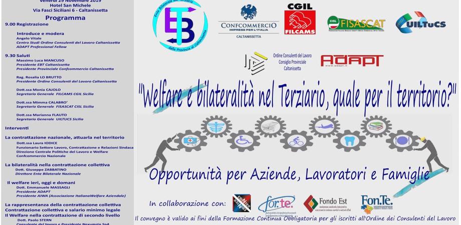 """""""Welfare e bilateralità nel Terziario, quale per il territorio"""", seminario a Caltanissetta per analizzare la normativa vigente"""