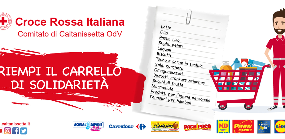 """""""Riempi il carrello della solidarietà"""", a Caltanissetta raccolta di generi alimentari nei supermercati della città"""