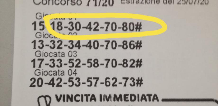 Superenalotto, la dea bendata bacia San Cataldo: centrato un 5 da 26 mila euro