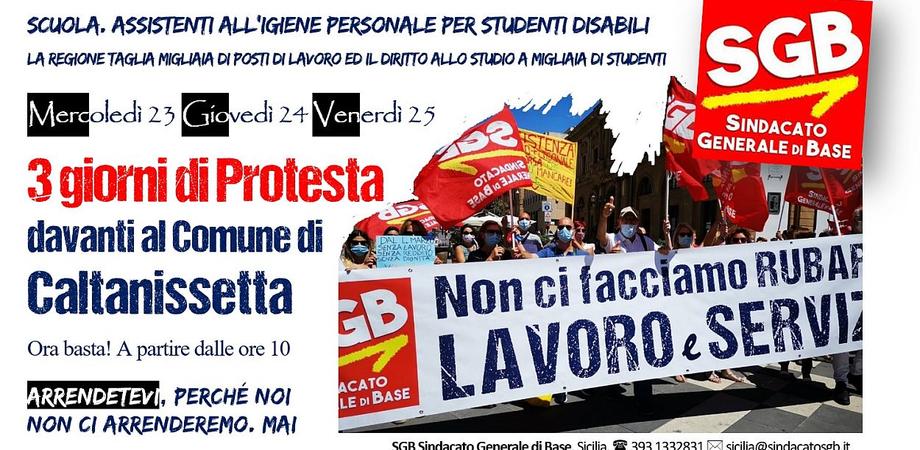 Scuola, lavoro e disabilità: contro i tagli della Regione, a Caltanissetta 3 giorni di protesta