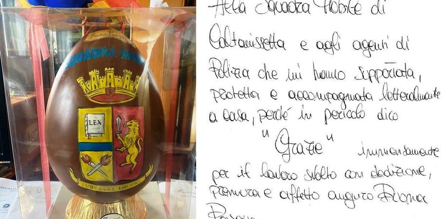 Caltanissetta, donna ringrazia la polizia per l'aiuto ricevuto in un momento di difficoltà: agli agenti regala un uovo di Pasqua