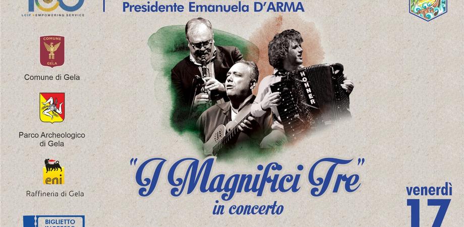 """Concerto di beneficenza alle Mura Timoleontee di Gela: sul palco """"I Magnifici Tre"""""""