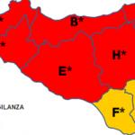 La mappa dell'allerta diffusa dalla Protezione Civile