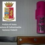 Coltello e spray sequestrati dalla Polizia