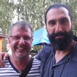I due attori (il nisseno Fabrizio Dell'Utri a destra) che interpretano Gesù nelle sacre rappresentazioni della Passione del Belgio e di Caltanissetta