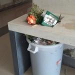Cestini colmi di spazzatura al cimitero