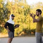 Spinelli e Muratore durante le riprese